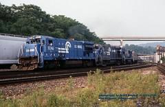 (SEE & HEAR)---CR 5046 w, E.Rochester, PA. 6-16-1990 (jackdk) Tags: train railroad railway locomotive ge gelocomotive b307 b367 cr conrail freighttrain freight pittsburghmainline seeandhear seehear fallenflag standardcab rochester eastrochester eastrochesterpa cr5046 5046 cr1911 1911 cr2720 2720