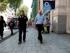 Friends walking (kevin Akerman) Tags: men friends o2 walking street cardiff shops