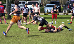 Chesty's Disciples v Halifax Highlanders (Mike McCall) Tags: copyright2019mikemccall photography photo image usa culture southern america thesouth unitedstates northamerica south georgia stpatricksdayrugbytournament stpatrick day rugby tournament game sport sports field pitch football savannah chatham county documentary editorial side daffin park daffinpark parkside