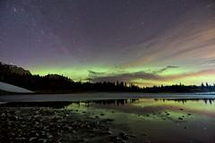 March night Bow Valley Park (John Andersen (JPAndersen images)) Tags: aurora bowvalley kananaskis milkyway night pond reflections trees