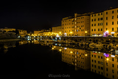 Luci su Livorno di Notte / Lights on Livorno by night (Eugenio GV Costa) Tags: livorno notte toscana night city città palazzi mare acqua sea water palaces outside