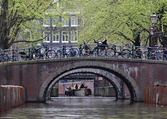 Bikes, Boats and Bridges (Treflyn) Tags: bike bicycle boat bridge canals amsterdam netherlands
