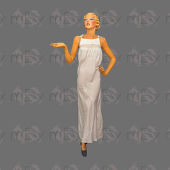 1930s Silk Bias Cut Silk Full Length Nightgown with Tie Straps and Rainbow Smocking (Rickenbackerglory.) Tags: vintage 1930s mannequin silk bias nightgown smocking siegel