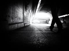Step by step towards the light (Sandy...J) Tags: street streetphotography sw schwarzweis strasenfotografie stadt city tunnel walking walk wall wand light licht darkness blackwhite bw black white germany deutschland urban underpass unterführung noir olympus monochrom photography fotografie absoluteblackandwhite