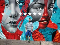 Wynwood Walls Selfie (Toni Kaarttinen) Tags: usa unitedstates florida wpb america miami miamidade wall graffiti stencil streetart art wynwood walls wynwoodwalls man guy shorts beard scruff faces