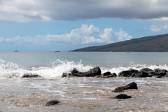 Pleasant Beach Afternoon (Denise Ankrum Photography) Tags: 0712 d850 maui hawaii beach sea sand waves water ocean kihei bluesky clouds windmills boats lava vacation destination tropical holiday blue rock stone invigorating soothing