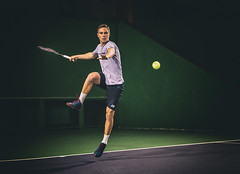 """Match point. From the cycle """"On the courts"""" (Pawel Wietecha) Tags: play game player sport match active move court action hall tennis potrait ball onthecourts pawelwietecha color yellow green grey"""