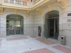 Entrance to Museum and Shop, (d.kevan) Tags: museums madrid calleserrano 1903 paths museolazarogaldiano architecturaldetails decorativedetails· windows doors balconies balustrades reflections