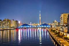 View to Tokyo Skytree (Thomas Cheung Bus Photography) Tags: sony a7iii a7m3 ilcea7iii a73 tokyoskytree river bridge nightscape lights star sky landscape