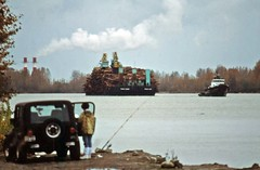 Log barge from River Rd Surrey 1992 (D70) Tags: logbarge riverrd surrey 1992 fishing vessel suv tugboat brownsvillebarbeach britishcolumbia canada loaded chimney stacks