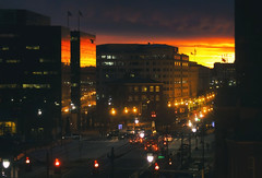 A splash of sun... (8230This&That) Tags: daybreak sunrise sunreflections brightness orangesunrise sun dc washingtondc downtown cityscape cityscapesunrise reflections