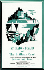 British Railways - St. Malo, Dinard & the Brittany Coast; leaflet cover 1955 - artwork by Pat Nevin (mikeyashworth) Tags: britishrailways railwayferryservices railwayephemera steamerservices mikeashworthcollection travelbrochures timetable graphicdesign patnevin illustartion 1955 southamptonstmaloferry southampton stmalo dinard brittany montstmichel stservan rochebonne paramé rocabey rotheneuf cancale pontorson stlunaire stbriac stcast stjacut rennes fougères caen labaule stbrieuc nantes bordeaux britishrailwaysferryservices