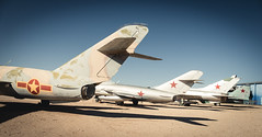 Line-up of Soviet Era Military Jets (Serendigity) Tags: arizona cccp pima pimaairspacemuseum sovietunion tucson usa unitedstates aircraft aviation desert jets military museum outdoors redstar unitedstatesofamerica