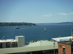 View of Ocean in Seattle (tommyd.) Tags: seattle washington reupload northwest pacific ocean islands hills town buildings ships cruise sunny clear