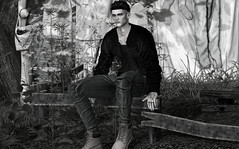 Hounds (MATTY // *OMG*) Tags: sl secondlife picture photo photography bw blackandwhite grayscale male outfit blogger blog fashion lotd look mesh stylish style streetweat cool man rkkn jacket semller boots