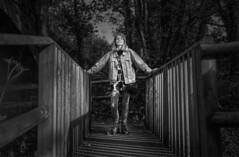 Lauren on the Bridge (pigpogm) Tags: mxpp photography affinityphoto bickleighmill blackandwhite bridge lauren model monochrome woman