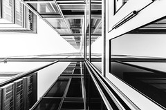 Urban Lines (Zesk MF) Tags: bw black white mono up building lines minimal architecture symmetrie glas cologne zesk 8mm urban house geometric