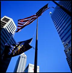 Indianapolis, Indiana (Roger Gerbig) Tags: skyscraper indianastateflag americanflag rvp100 fujichromevelvia100 mediumformat 120film 50mmf4cfzeissdistagonfle hasselblad500cm rogergerbig downtown indianapolis indiana