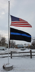 March 14, 2019 - Flags at half mast in memory of Corporal Daniel Groves, CSP. (ThorntonWeather.com)