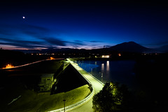 Dam (kat-taka) Tags: water mountain blue nature night moon tree