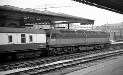 Sheffield Midland South Yorkshire Autumn 1969 (loose_grip_99) Tags: sheffield midland station south yorkshire railway railroad rail train transportation diesel engine locomotive england uk blackwhite noiretblanc trains railways brush class 47 d1616 autumn 1969 britishrailways
