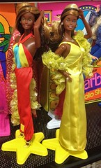 A TALE OF TWO CHRISTIES!!! (ModBarbieLover) Tags: superstar christie doll 1976 africanamerican mattel differences twins yellow satin disco toy fashion
