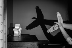 Shadow Play (HW111) Tags: bw blackandwhite fun hands kids nightlight play shadowpuppets shadows star storytelling wall bird dove hollywilson