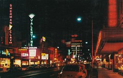 Night View - Fulton Street - Fresno, Calif. - 1950s (hmdavid) Tags: vintage postcard downtown fresno fulton street 1950s night neon signs shermanclay valentine jewelers kress