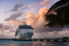 The Costa Deliziosa (Mustang Joe) Tags: public cruise d750 nikon newyears domain caribbean ship sunset pier jetty grand turk island holiday vacation tropical palm tree boat harbour harbor