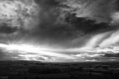 View from Walton Hill (FTonyC) Tags: blackandwhite monochrome somerset x100s clouds weather winter landscape crepuscularrays somersetlevels