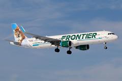 N718FR FRONTIER A321-211SL at KCLE (GeorgeM757) Tags: n718fr frontier airbus georgem757 kcle canon70d a321211sl aviation aircraft