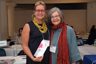 Lori Mertes (Locust Projects) and Liana Perez (artcircuits.com) at DASH (Design and Architecture Senior High) Internship Fair.