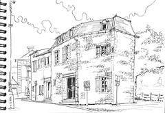Melle,  rue Emilien Traver (Croctoo) Tags: melle encre ink poitoucharentes poitou mellois croctoo croctoofr croquis sketch