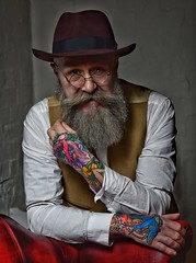 Pip (Mr_Pudd) Tags: nikon85mmf14 nikond750 nikon glasses hat beard tattoo studio
