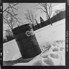 Garbage can in the snow (Micah Bowerbank Photography) Tags: hamilton ontario canada ca
