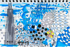 Chicago Doodle (Jonathan Lurie) Tags: watercolor paper sketch book ink painting chicago contemporary city art doodle sketchbook contemporaryart contemporarypainting inkonpaper watercolorpainting watercoloronpaper