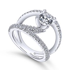 Original NOVA Renewal Design With Swinging Strands of Pave Diamonds in 14k White Gold Engagement Ring Setting (diamondanddesign) Tags: originalnovarenewaldesignwithswingingstrandsofpavediamondsin14kwhitegoldengagementringsetting er12416r4w44jj bridal rd engagement rings gbbr 65 068 ct gabriel ny diamond 14k white gold quarter