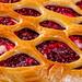 Raspberry pie with raspberry jam close up