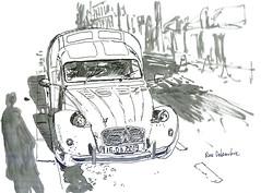 2cvaks400 (sylvain.cnudde) Tags: citroen 2cv citroen2cv vehicle sketch usk uskparis urbansketch drawing dessin croquis