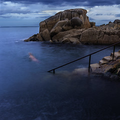 the swimmer (srlshaw) Tags: swim swimmer person people sport water waves ocean sea blue rocks steps stairs cove bay forty foot dunlaoghaire