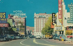 Vintage Postcard - Virginia Street Looking North - Reno, NV - 1950s - Look at all of those gorgeous neon signs!!! (hmdavid) Tags: vintage postcard reno nevada virginia street 1950s neon signs bowling ustires hotelriverside buick cadillac mapes packard tower theater theatre sierrapacificpower roadside cardealerships oldsmobile