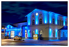Winsen station at night (mechanicalArts) Tags: bahnhof winsen luhe blau licht nacht blaue beleuchtung