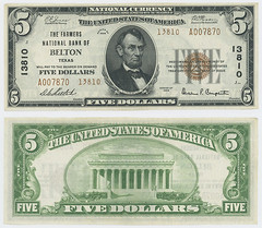 United States $5.00 (five dollars) national currency (SMU Libraries Digital Collections) Tags: texas money national us united states currency paper banks notes note banknote banknotes chartered bank banking belton bell bellcounty