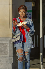 again (Henk Overbeeke Atelier54) Tags: girl street candid eating jeans red phone amsterdam