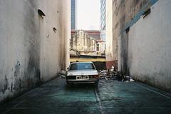 (Hem.Odd) Tags: abandoned mercedes car alley dirty malaysia kualalumpur olympusxa3 expired fujifilm xtra800
