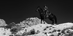 02469376422328-111-19-04-A Cowboy and HisHorse-4-Black and White (You have failed me for the last time Jim) Tags: 2018 america april canon5dmarkiv mojavedesert nevada people redsprings tamron2470mmf28divcusdg2 usa calicobasin cowboy cowgirl horse horseback spring monochrome blackandwhite