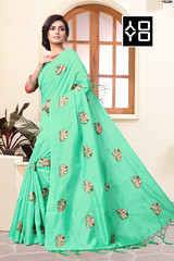 C-Green #EmbroideredSaree With Blouse Online On #YOYOFashion. (yoyo_fashion) Tags: saree fashion style cgreensaree blouse joyasilksaree outfit indiansaree