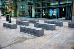 London's Burning (Croydon Clicker) Tags: stone bench seat memorial sign poem song lyrics street road pavement sidewalk writing london cityoflondon monument
