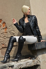 Tabea 38 (The Booted Cat) Tags: sexy blonde hair model girl smoking cigarette leather jacket boots overkneeboots