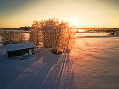 Long Shadows On The Winter Fields (k009034) Tags: 500px wooden copy space day finland scandinavia tranquil scene aerial view agriculture barn house building clouds crates drone farm farming fields long nature no people old seasons shadows sky snow sun sunset tree winter frost teamcanon copyspace tranquilscene aerialview barnhouse nopeople